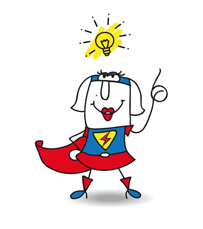 Karen the Superwoman has a good idea  this girl is very creative  and intelligent Vector