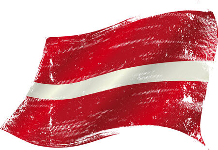 flag of  Latvia in the wind with a texture Vector