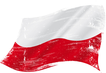 warsaw: A grunge polish flag for you Illustration