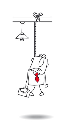 occupational risk: Burnout of a businessman  he committed suicide Illustration