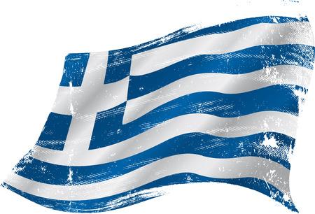 テクスチャと風でギリシャの旗  イラスト・ベクター素材