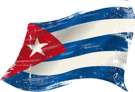 havana cuba: A grunge cuban flag in the wind for you