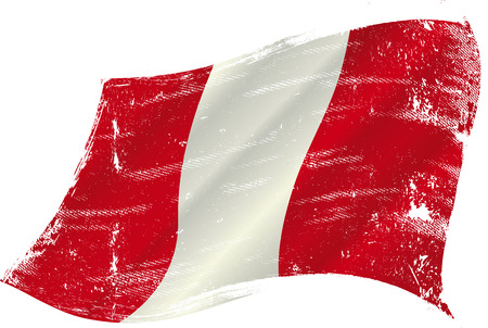 flag of  Peru in the wind with a texture