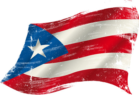 rican: A grunge Puerto rican flag in the wind for you