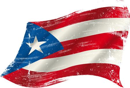 Ein Grunge-Puerto-ricanische Flagge in den Wind für Sie Illustration