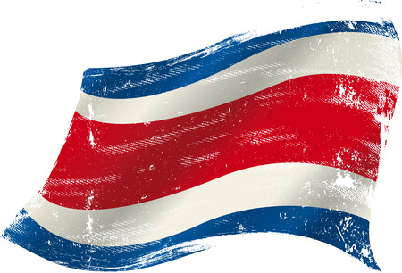 costa rica flag: flag of  Costa rica in the wind with a texture