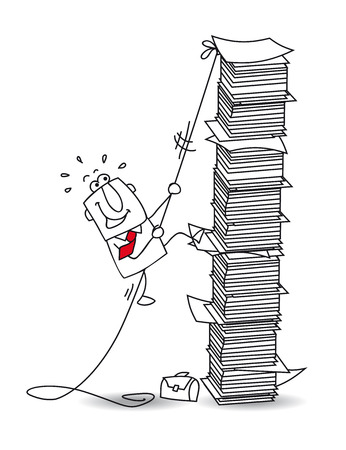 scramble: This businessman is climbing a stack of paper Illustration