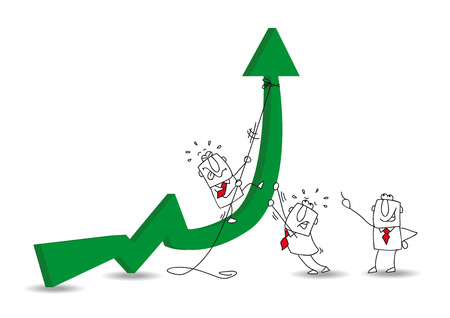three businessmen are trying to pull a rope to straighten an arrow  It Illustration