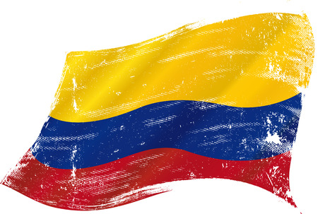 flag of  Colombia in the wind with a texture Иллюстрация