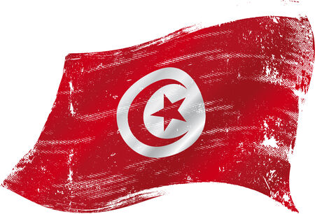 A grunge tunisian flag for you in the wind Vector
