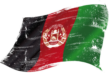 bad condition: flag of Afghanistan in the wind with a texture Illustration