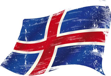 icelandic flag: Una bandera islandesa grunge para usted en el viento con una textura