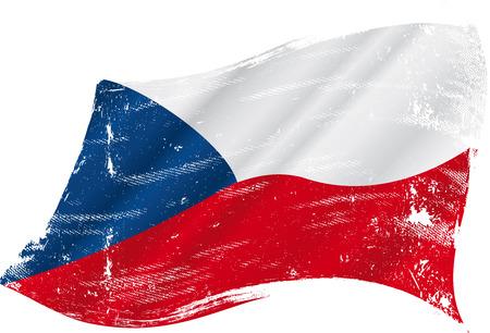 czech flag: Una bandiera grunge ceca nel vento per voi Vettoriali