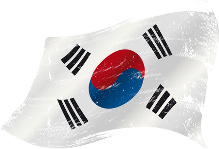 old ruin: A grunge South Korean flag for you in the wind