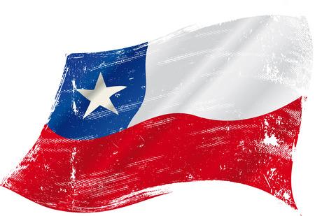 bandera de chile: Una bandera chilena grunge en el viento para usted