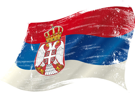 A grunge Serbian flag in the wind for you Vector