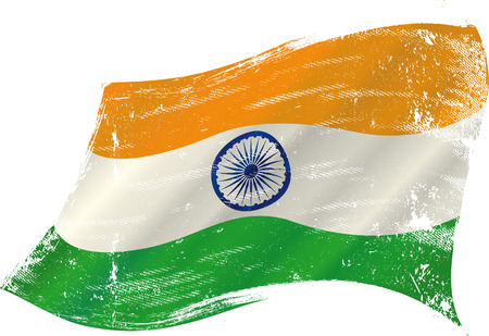 indian culture: flag of  India in the wind with a texture