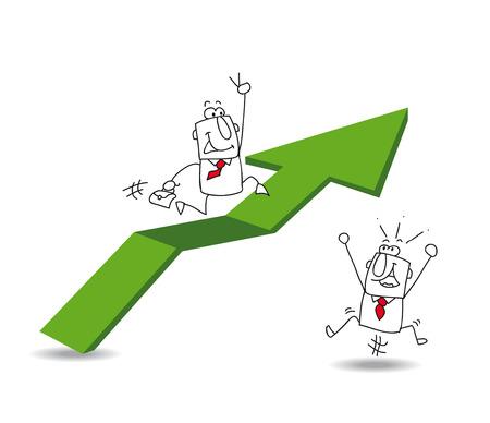 augmentation: Joe, the businessman is running on a green arrow