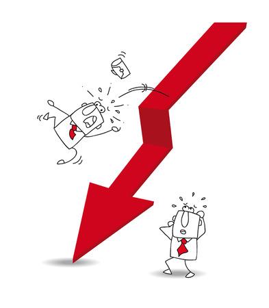 slump: Joe the businessman is falling off the red arrow