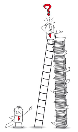 Joe the businessman climbs a ladder  He has lost an important document Vector