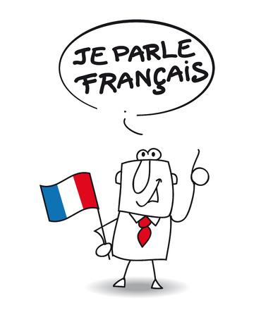 speaks: This businessman speaks french Illustration
