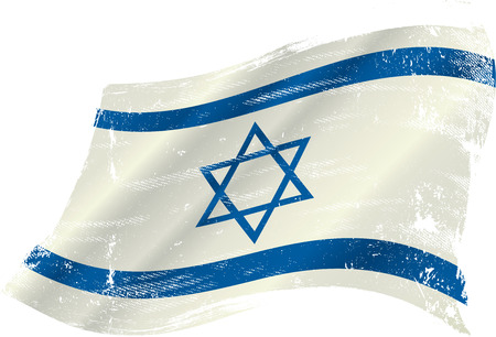 israeli: flag of Israel in the wind with a texture Illustration