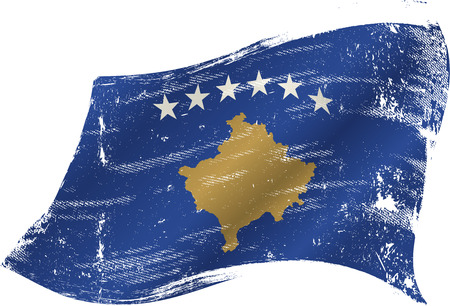 flag of  Kosovo in the wind with a texture Vector
