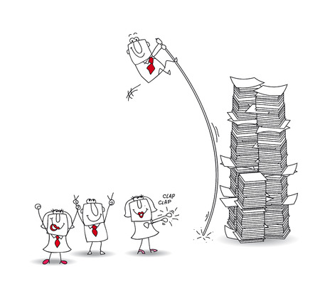 joe: joe, the businessman jumps over a stack of paper Illustration