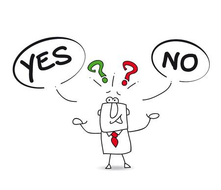 unsure: S� o No Joe, l'uomo d'affari � incerto Vettoriali