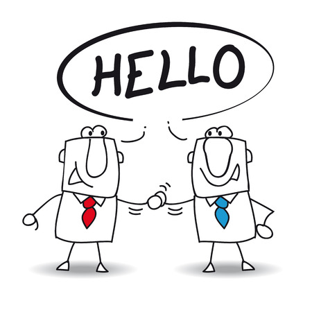 amiable: Two businessmen say hello  They will do a deal