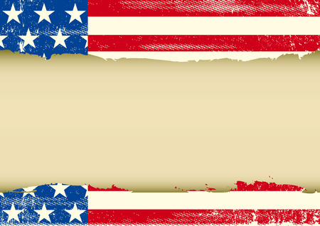 An american vintage flag with a texture and a large empty frame for  message Vector