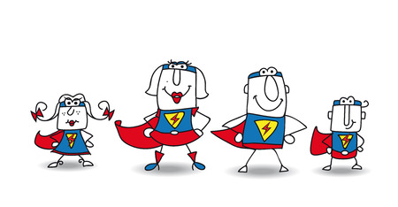 Family of superheroes illustration    Vector