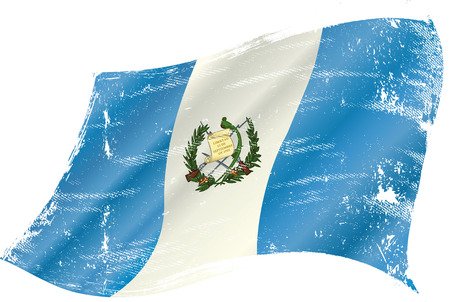 flag of Guatemala in the wind with a texture Vector