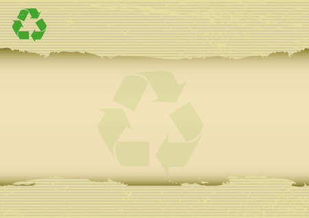 recycled paper: A recycling symbol on a torn kraft horizontal poster for your message