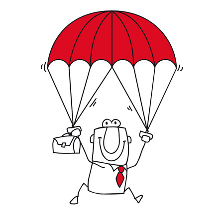 paratrooper: Joe the businessman is the man for this sticky situation Illustration