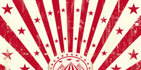 circus ticket: A retro circus invitation with a texture and red sunbeams