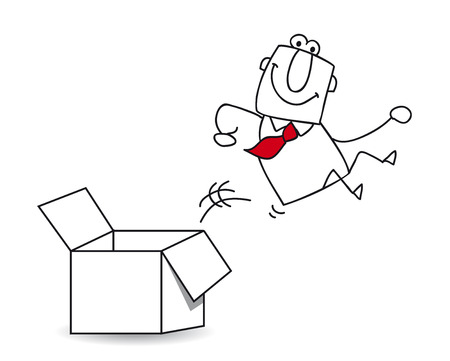 cadre: This businessman goes out this box  It Illustration