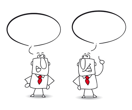 conversaciones: Dos hombres están hablando juntos Escriba el discurso en la burbuja