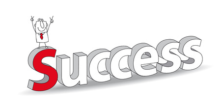 Word  Success  in a 3D style with Joe the businessman  Ideal for a title  It illustrates the concept of  the success Vector