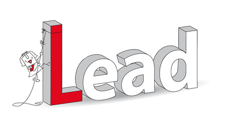 clamber: Word  Lead  in a 3D style with Karen the businesswoman    Ideal for a title  It illustrates the concept of the Lead