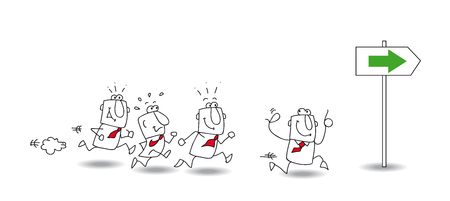 Joe, the business man is the leader  A group of collegues follows him  It illustrates the concept of  the leadership  Illustration