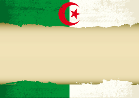 algerian flag: An algerian flag with a large frame for your message  Ideal to use for a screen
