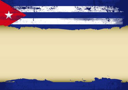 Een Cubaanse vlag met een groot frame voor uw bericht Ideaal om te gebruiken voor een scherm Stock Illustratie