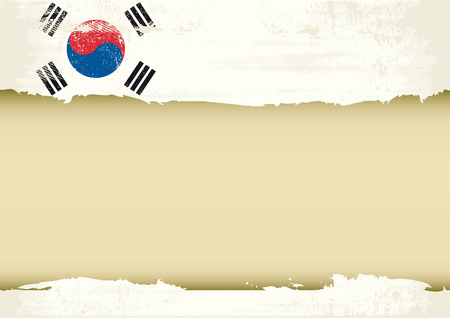 A South Korean flag with a large frame for your message  Ideal to use for a screen Vector