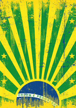 A vintage brazilian poster with a texture for your advertising Vector