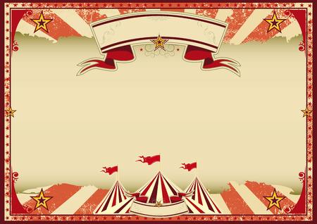 szüret: A piros vintage cirkusz hátteret poszter Illusztráció