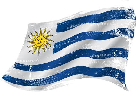 bandera de uruguay: bandera de Uruguay en el viento con una textura Vectores