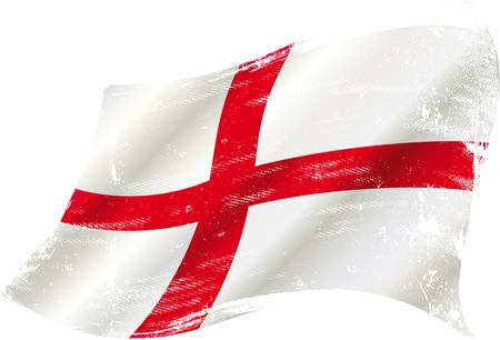 england flag: flag of  England in the wind with a texture