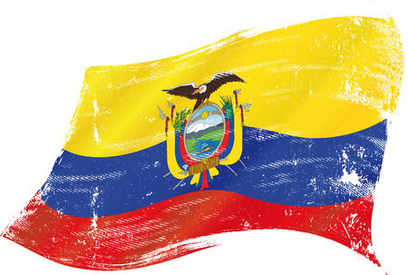 ecuador: flag of  Ecuador in the wind with a texture