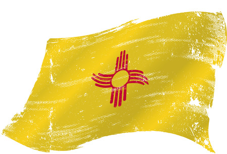 A grunge flag of new mexico in the win with a texture Vector